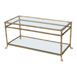 1950s Solid Brass Faux Bamboo Italian Two-Tier Coffee Table For Sale