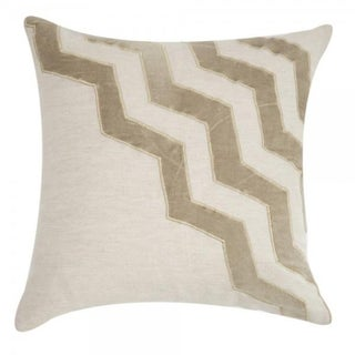 Tan Chevron Velvet Appliqué Linen Pillow
