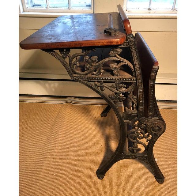 1880 Victorian Schoolhouse Desk W/Cast Iron Base Inkwell & Bookshelf For Sale - Image 10 of 11