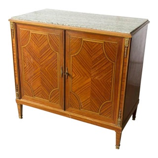 French Marble-Top Buffett with Marquetry Doors