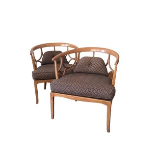 Mid Century Modern Michael Taylor Carved Walnut Chairs For Sale
