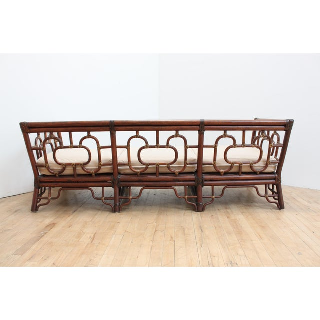 Brown Chinese Chippendale Bamboo and Leather Sofa For Sale - Image 8 of 10
