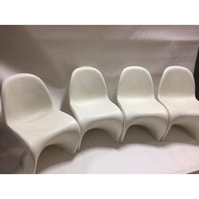 4 vitra panton s chairs in white set of 4 chairish