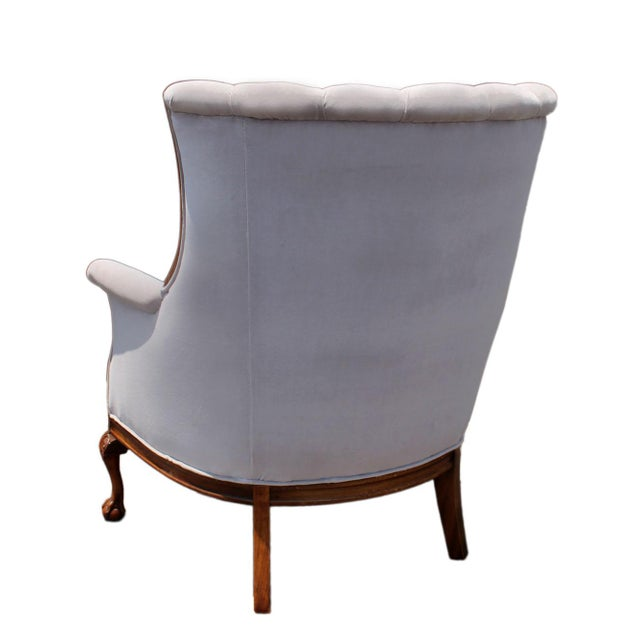 Mid-Century Mahogany Channel Shell Back Lavender-Grey Velvet Chairs, Matching Pair For Sale - Image 4 of 8