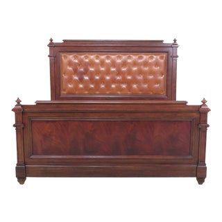 1990s Traditional Ralph Lauren King Size Tufted Leather Mahogany Bed For Sale