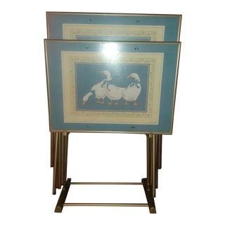 Vintage Swan Tv Trays - Set For Sale