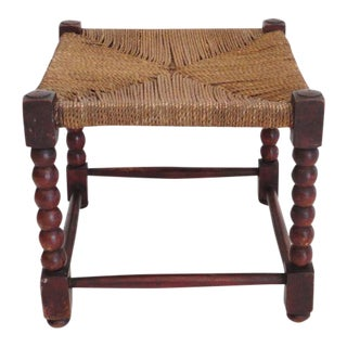 19th Century Red Washed Painted Pine Footstool with Sea Grass Woven Top For Sale