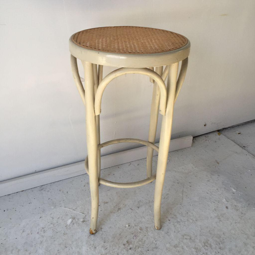 Vintage Bentwood Thonet Caned Stool Chairish