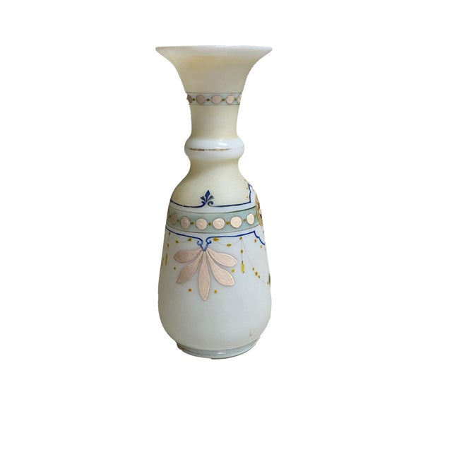 Antique French Opaline Hand Painted Vase For Sale - Image 4 of 6