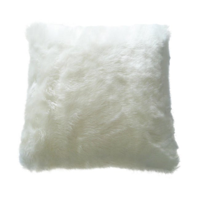 Faux Arctic Fox Pillow in Ivory For Sale