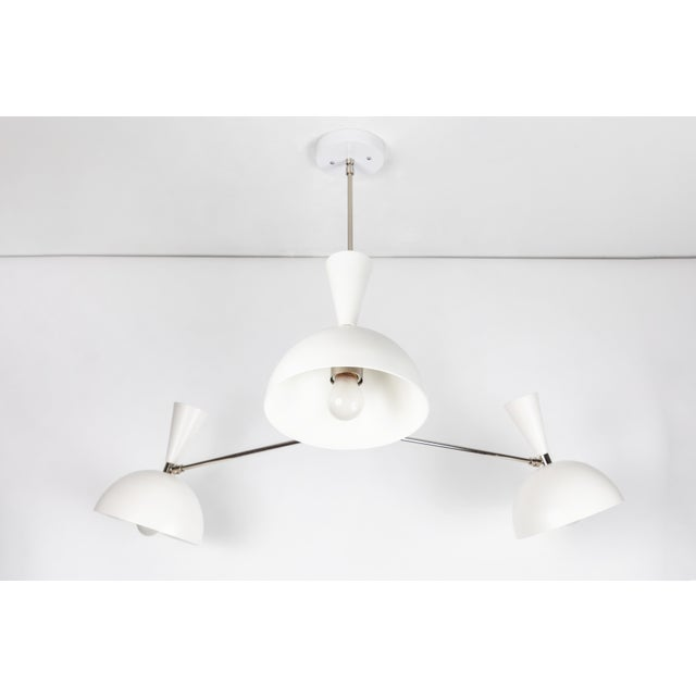 Not Yet Made - Made To Order Large Three-Cone 'Lola II' Chandelier in White and Chrome For Sale - Image 5 of 11