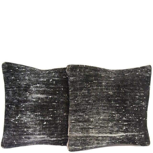 Black Handmade Overdyed Rug Pillows - Pair - Image 1 of 4