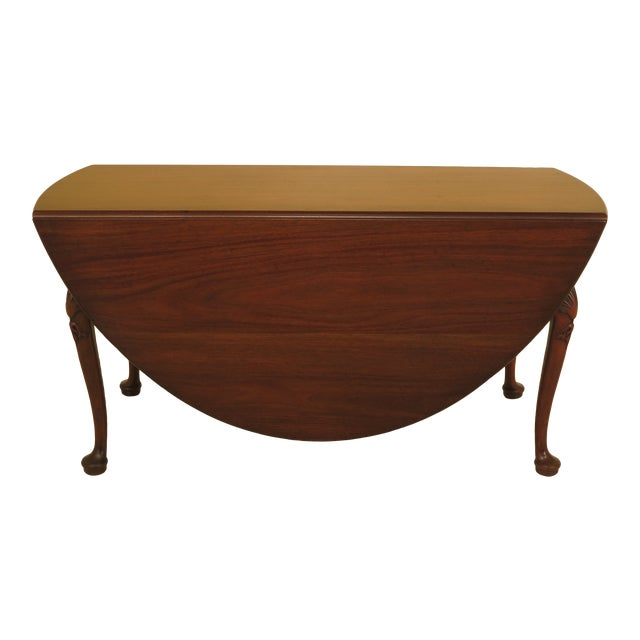 1960s Queen Anne Kittinger Colonial Williamsburg Mahogany Drop Leaf Table For Sale