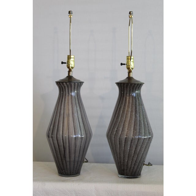 Glass Vintage Modern Tapered Striped Murano Table Lamps - a Pair For Sale - Image 7 of 10