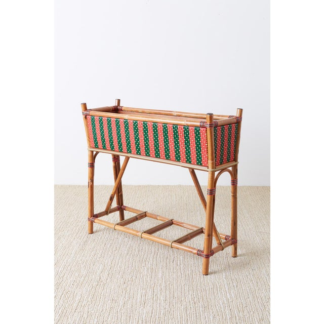 Art Deco French Maison Gatti Bamboo Rattan Jardiniere Planter For Sale - Image 3 of 13