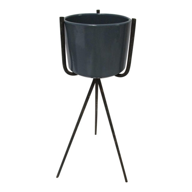Mid-Century Modern Gainey Blue Pot & Iron Tripod Stand - Image 1 of 11