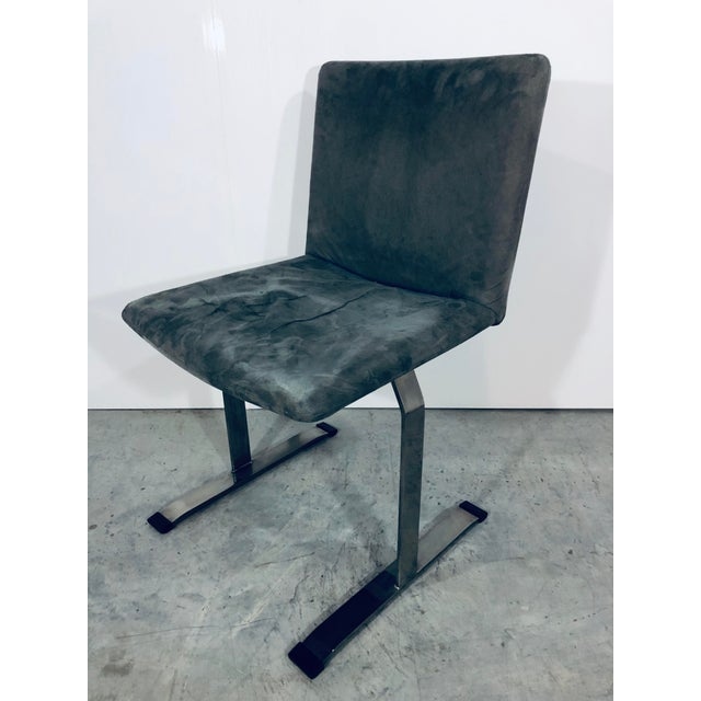 Contemporary Seven Giovanni Offredi for Saporiti Chrome Dining Chairs For Sale - Image 3 of 12