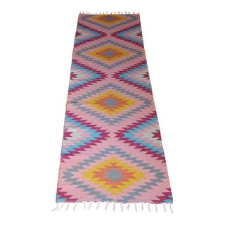 "Flat Weave Wool Diamond Runner Kilim Rug - 2'8"" x 10' For Sale"