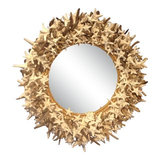 White Starfish and Driftwood Custom Round Mirror For Sale