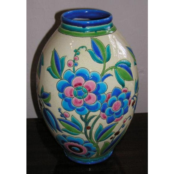 1930s 1930s Keramis Boch Blue Green and Pink Ceramic Vase For Sale - Image 5 of 8