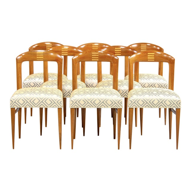 Set of Eight Art Deco Beech Chairs With New Upholstery For Sale