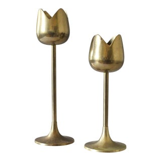 2 Brass Tulip Candlesticks Candle Holders Flowers Mid Century For Sale
