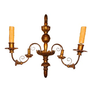 19th Century Pair of French Gilt Wood Sconces For Sale