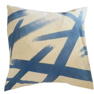 Contemporary Blue Wearstler Mudcloth Pillow Cover For Sale