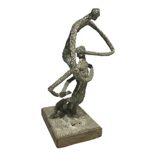 Vintage Mid-Century Brutalist Style Wrestlers Abstract Bronze Sculpture For Sale