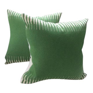 Manuel Canovas Pillows in Green Woven Kazan Pattern - a Pair For Sale