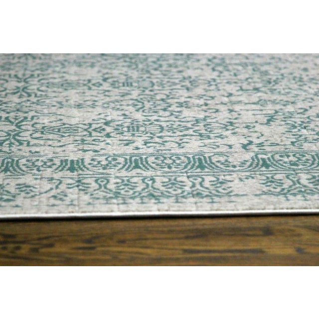 """Teal Distressed Patterned Rug - 8'x10'7"""" - Image 4 of 7"""