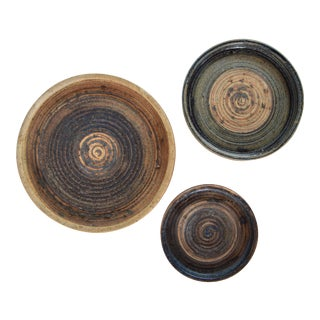 1960s Low Stoneware Bowls by Tue Poulsen - Set of 3 For Sale