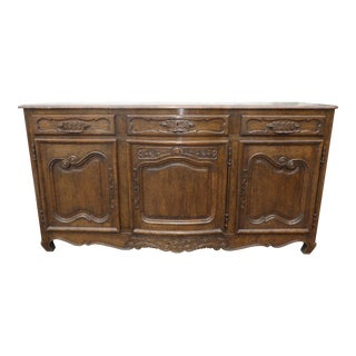 Antique French Buffet Sideboard With Brass Hardware