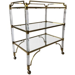 "Charles Hollis Jones Lucite and Brass ""Classic"" Bar/Serving Cart For Sale"