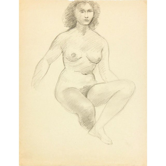 Female Figure Drawing Free Mat&Shipping, C. 1940 - Image 1 of 3