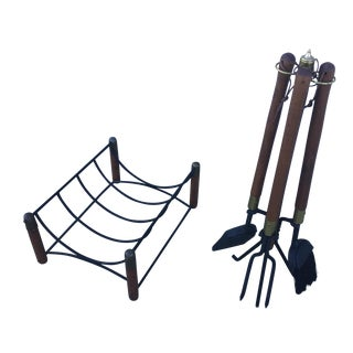 Seymour Fireplace Tools & Log Holder For Sale