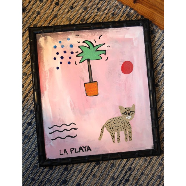 Virginia Chamlee Original Pink and Orange Jungle Painting in Bamboo Frame For Sale - Image 4 of 5
