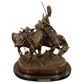 Russian Bronze Kazak Statue on a Horse After Eugene Alexandrovich Lanceray For Sale