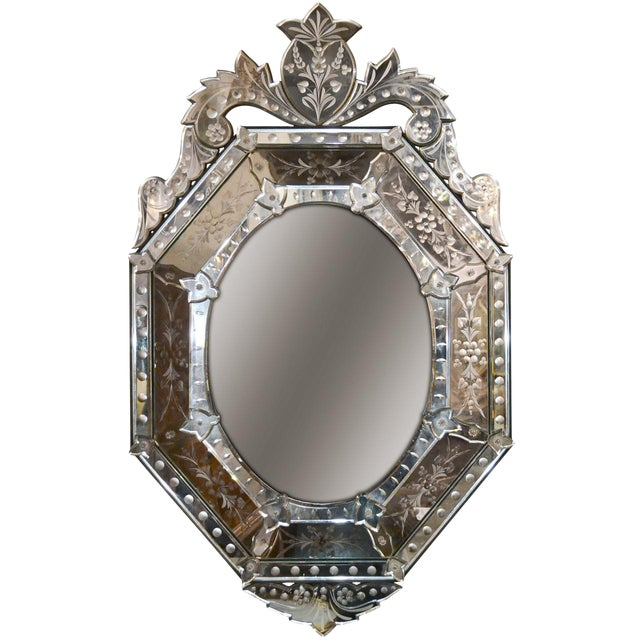Early 20th Century Venetian Etched Cushion Mirror For Sale