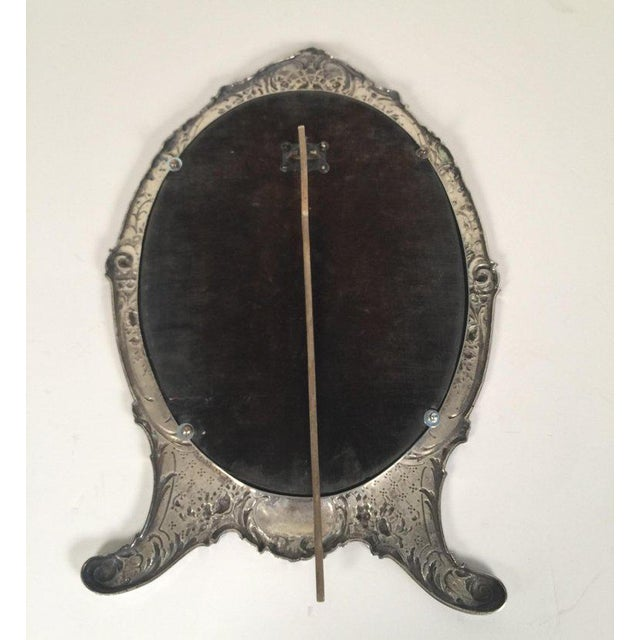 Antique Tiffany Repousse Sterling Silver Standing Vanity Mirror For Sale In Philadelphia - Image 6 of 13