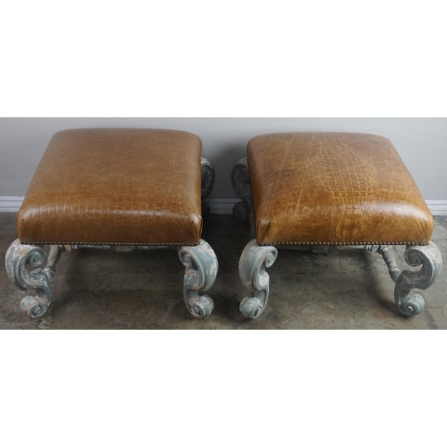Pair of French Painted Benches With Leather Upholstery For Sale - Image 11 of 12