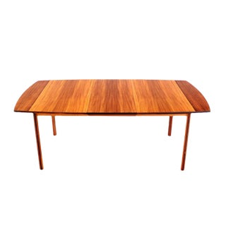 Striped Pattern Rosewood and Teak Danish Modern Dining Table with One Leaf For Sale