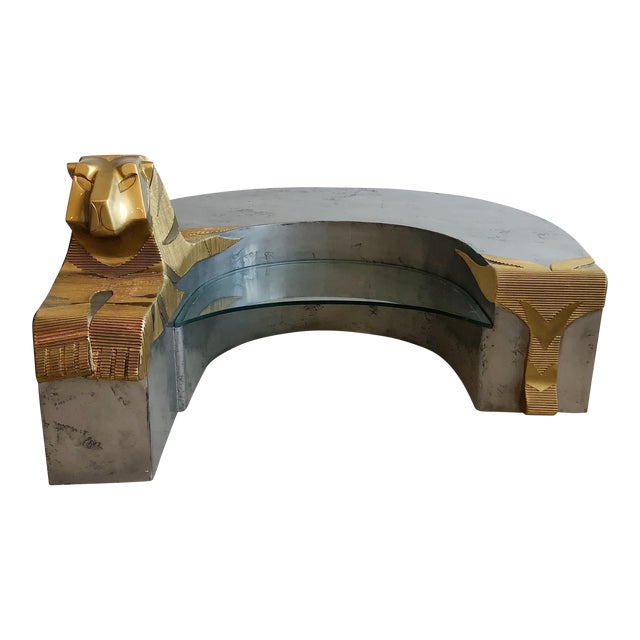 Vintage Sculptural Tiger Large Oversized Bench Coffee Table by Anne Herbst (1923-2007) For Sale