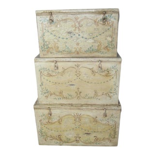 French Country Metal Storage Trunks - Set of 3 For Sale