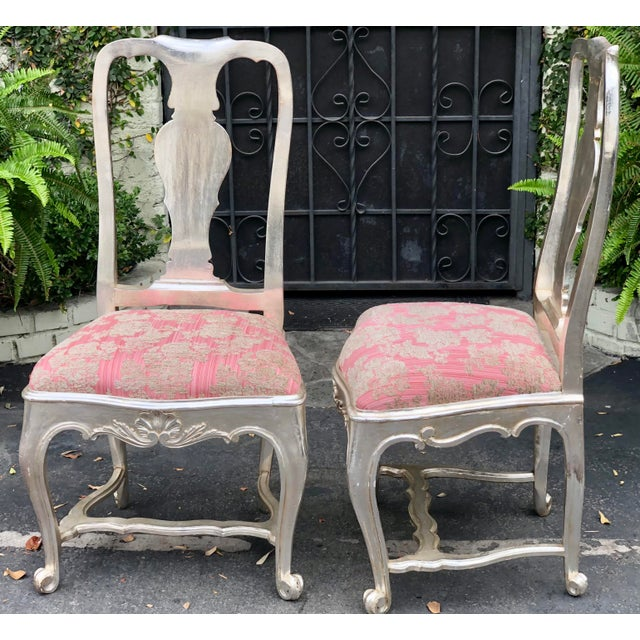 Antique George III Silverleaf & Pink Velvet Side Chairs - a Pair For Sale - Image 4 of 5