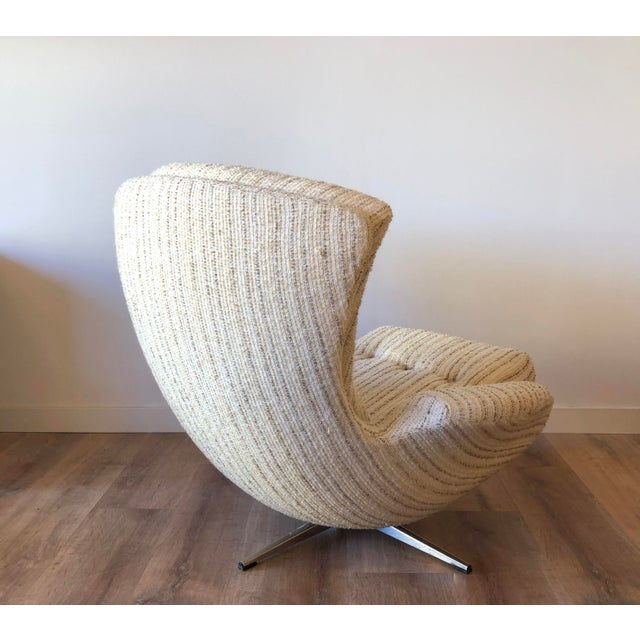 1960s Mid-Century Swedish Tufted Egg Swivel Chair With Swivel Ottoman For Sale - Image 5 of 12