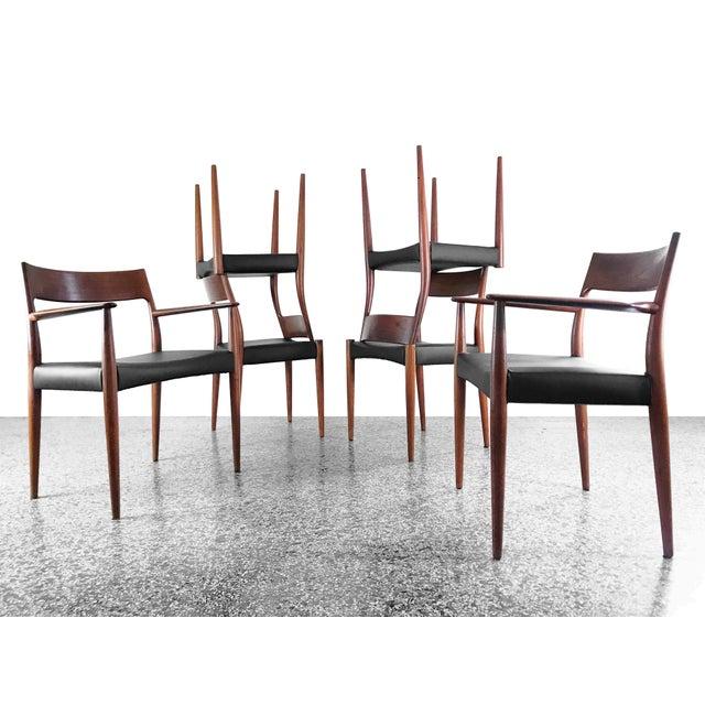 Mogens Kold Møbelfabrik 1960s Vintage Arne Hovmand Olsen Danish Teak Dining Chairs - Set of 6 For Sale - Image 4 of 12