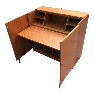 Teak Danish Modern Desk Hide Away by Vitre Made in Denmark For Sale