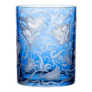 Social Butterflies Large Cylinder Vase, Blue For Sale