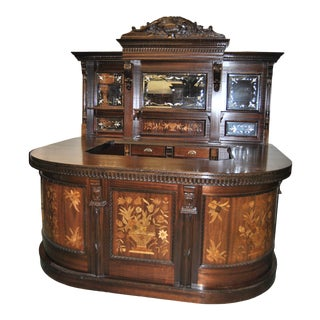 Vintage English Inlaid Mahogany Front and Back Bar For Sale